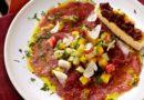 Carpaccio de bœuf et tartare de fruits