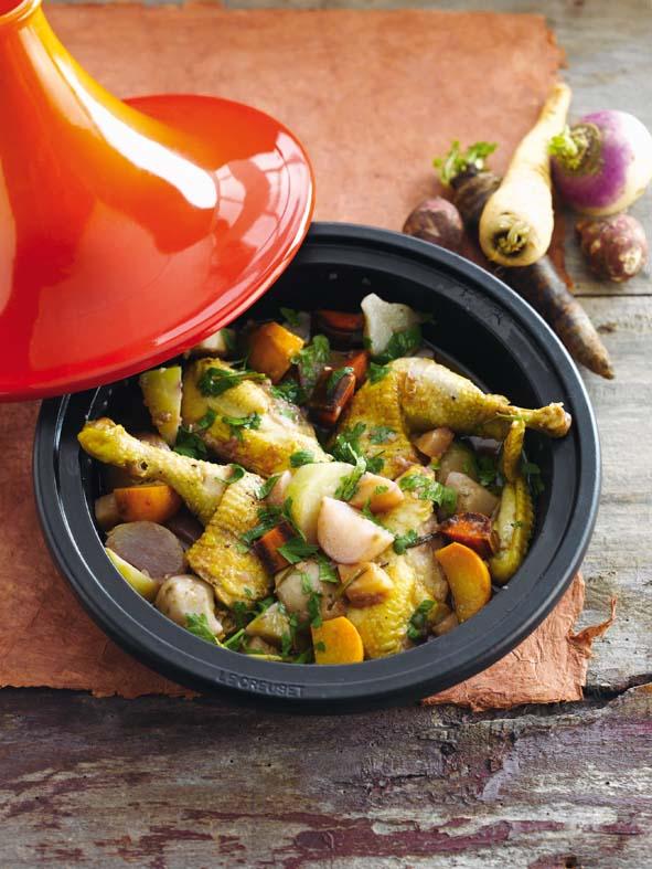 Tagine de poulet aux légumes racine © Le Creuset – Borgerhoff & Lamberigts