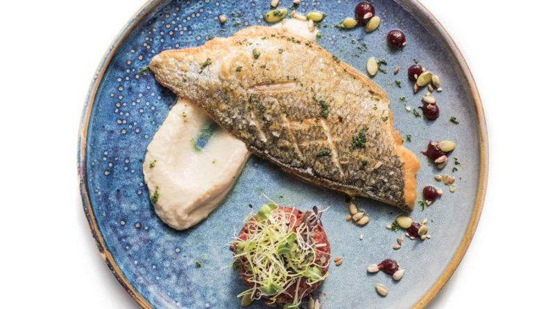 Filet de daurade grillée, purée de céleri, quinoa de betterave